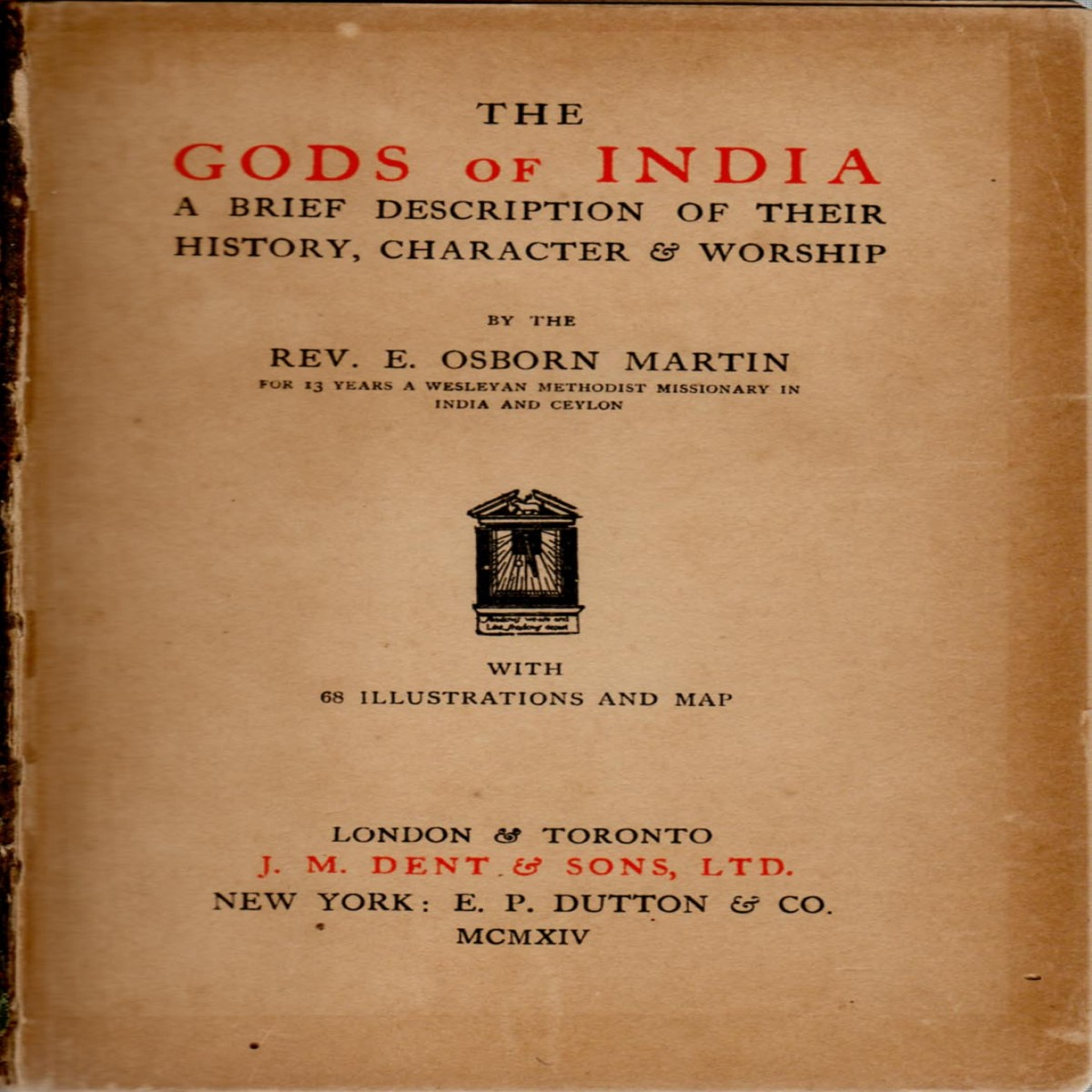 The Gods Of India: A Brief Description Of Their History, Character & Worship (Back cover page missing)